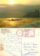 Surfing At Leblon Beach, Rio De Janeiro, Brazil Postcard Posted 1976 Meter - Rio De Janeiro