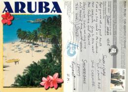 Beach Scene, Aruba, Aruba Postcard Posted 2000 Stamp - Geschichte, Philosophie, Geographie