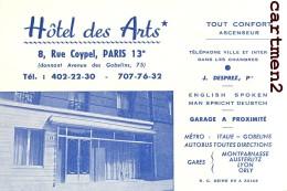 PARIS HOTEL DES ARTS 8 RUE CIYPEL 75013 CARTE PUBLICITAIRE VISITE 75013 GOBELINS - Visiting Cards