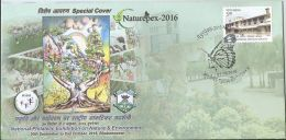 Inde Special Cover, Butterfly Pictorial Cancellation,Butterfly, Snake, Peacock, Birds On Tree,