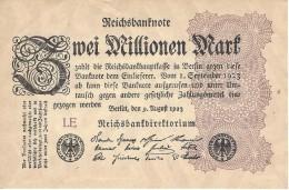 GERMANY 2 MILLION MARK 9.8.1923 P-104a AU/UNC SERIE LE  [ DER104a ] - [ 3] 1918-1933: Weimarrepubliek