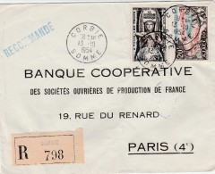 Recommandée  Affranchie De Corbie (Somme) Yvert Ajaccio 981 Et 998 Système Métrique Pour Paris - 1921-1960: Modern Period