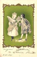 [DC3418] CPA - COPPIA - CARTOLINA AUGURALE - IN RILIEVO - Viaggiata 1901 - Old Postcard - Coppie