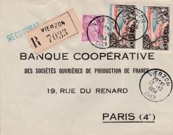 Sur Recommandée De Vierzon (Cher),Yvert  811 Marianne De Gandon Et  981.  Ajaccio    Pour Paris - Marcofilia (sobres)