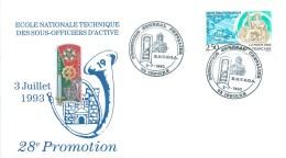 ISSOIRE (63 - PUY DE DÔME) - ECOLE NATIONALE TECHNIQUE DES SOUS OFFICIERS D´ACTIVE - 28° PROMOTION -1993 -LETTRE DECOREE - Marcophilie (Lettres)