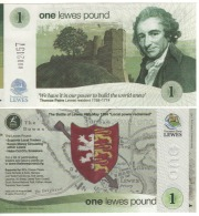 """ENGLAND.    £1  """" LEWES""""  Official Local Currency """"  2016    Front  Thomas  Paine Back Battle Of Lewes (1264)    UNC - 1952-… : Elizabeth II"""