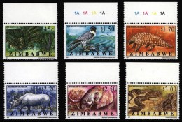 Zimbabwe Simbabwe 1997 ** MNH. CITES Peregrine Pangolin Elephant Rhino Zwergwanderfalke Schuppentier  Elefant Python - Briefmarken
