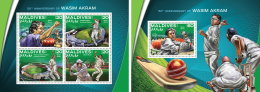 MALDIVES 2016 ** Cricket Wasim Akram M/S+S/S - OFFICIAL ISSUE - A1639 - Cricket