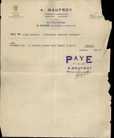 FACTURE - SAINT-PIERRE ET MIQUELON - A. Maufroy - 1934 - France