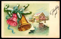 6987 - Alte Glückwunschkarte - Weihnachten Glocken Tannenzweig - HCP - Gel 1956 - Non Classificati