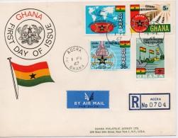 Ghana 1967, Registered FDC, Ships, Flags Complete Serie - Ghana (1957-...)