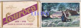 """CARNET De 9  VUES En HELIOCHROMIE De LUXE """" SOUVENIR Du CENTENAIRE Des APPARITIONS 1858 -1958 - LOURDES - Cartoline"""