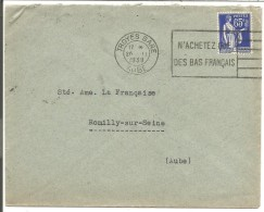 OBLITERATION MECANIQUE SUR LETTRE DE TROYES GARE DU 26/11/1938 - 1921-1960: Période Moderne
