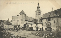 Mégève. La Place Et Le Clocher. Postes Et Télégraphe, Veuve Morand Parapluies, Café, Epicerie. - Megève