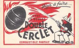 """POMPIERS  """"en Action """"    BUVARD Publicitaire  """"Boulet Double Cerclet"""" - Öl & Benzin"""