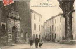 83/ Correns - La^place De L'Eglisse Et L'hotel Des Postes Et Télégraphes - écrite En 1910 - Frankrijk