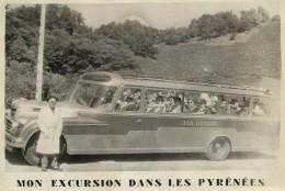 MON EXCURSION DANS LES PYRÉNÉES - Autocar En Août 1954 (photo Format 17x11,5cm) - Automobiles