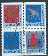 Suède 1981 N°1127/1130 Oblitérés En Bloc, Armoiries - Suède