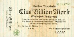 Deutschland, Germany, Deutsche Reichsbahn Berlin - 1 Billionen Mark, 1923 ! - 1918-1933: Weimarer Republik