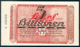 Deutschland, Germany, Stadt Duisburg Am Rhein - 5 Billionen Mark, 1923 ! - 1918-1933: Weimarer Republik