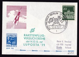 Germany-Berlin: Cover To Netherlands, 1971, Rocket Mail?, Single Franking, Special Cancel Space, Luposta (traces Of Use) - [5] Berlijn