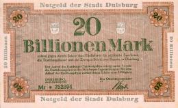 Deutschland, Germany, Stadt Duisburg - 20 Billionen Mark, 1923 ! - 20 Billionen Mark