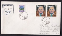 Canada: Registered Cover To USA, 1982, 3 Stamps, From Town Named Mozart, Music Composer, Rare (traces Of Use) - 1952-.... Regering Van Elizabeth II