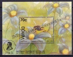South Africa - Afrique Du Sud - Venda 1992 Yvert  BF 8, Fauna, Native Bees Species -  Miniature Sheet - MNH - Südafrika (1961-...)