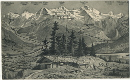 Carte Geographique Sommets Chalet Alpage  Bunigen Alpiglen Wengen Muirren Wilderswil Zweilutschinen Interlaken - BE Berne