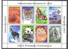 2003. Tajikistan, Philateli Exhibitions, Fauna, Sheetlet Perforated, Mint/** - Tadschikistan