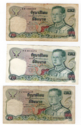 3 Banconota Tailandia Thailand 20 Serie IJ 8H 9A Usate - Tailandia