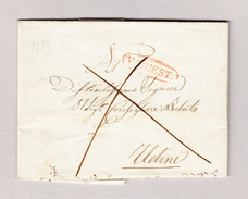 Italien V.TRIEST Rot Umgeben 1836.8.5 Vorphila Brief Nach Udine - Italien