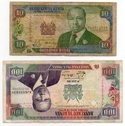 2 Banconote Kenya 100 One Hundred Shilingi Mia Moja Serie AJ 1991 E10 Shilingi Kumi Serie AL 1990 - Kenia