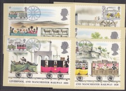 Great Britain 1980 Liverpool And Manchester Railway 1830 5v  5 Maxicards (32669) - Maximumkaarten