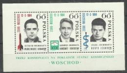 """Polen Bl.35,1538-40 """"Block Mit 3 Weltraumteilnehmern Zum Sowjet.Flug Woschod """"postfrisch Mi.:2,00 € - 1944-.... République"""
