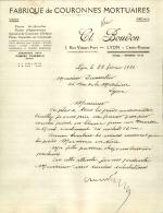 Thématique « POMPES FUNEBRES » - Document Commercial (petit Format) à Entête De Lettre – A Voir - N° 19060 - Old Professions
