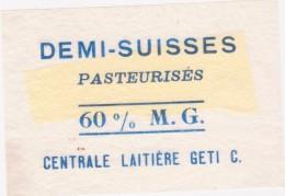 Etiquette De Fromage -  Demi Suisse 60 % MAT G Centrale Laitière Geti C - Fromage