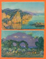 """Lot De 2 CPA Illustrateur Eugene Deshayes Colorisées """" Effets Du Matin Et Arcades Basilique D'alexandre ( Alger) """" - Ilustradores & Fotógrafos"""