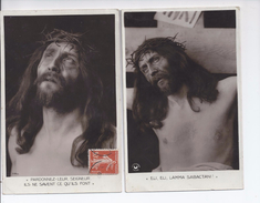 2 X 1909 PHOTOGRAPHIC RELIGIOUS CARDS - BY CROISSANT PARIS - USED - Jesus
