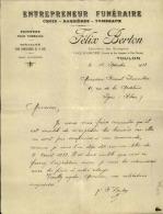 Thématique « POMPES FUNEBRES » - Document Commercial (petit Format) à Entête De Lettre – A Voir - N° 19080 - Petits Métiers