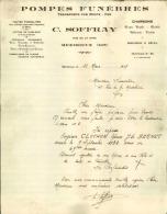 Thématique « POMPES FUNEBRES » - Document Commercial (petit Format) à Entête De Lettre – A Voir - N° 19081 - Old Professions