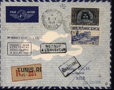 Tunisie Avion Aviation 1er Service Aéro Postal Tunis Bastia Corse Recommandée - Tunisie (1888-1955)