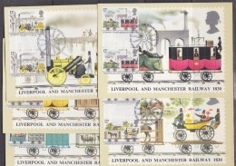 Great Britain 1980 Liverpool And Manchester Railway 1830 5v (in Gutter Pairs) 5 Maxicards (32670) - Maximumkaarten