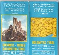 B1791 - CARTA PANORAMICA E CARTA STRADALE 1972 DOLOMITI TIROLO/CORVARA/NOVA LEVANTE/PASSO DEL GIOVO - Carte Stradali