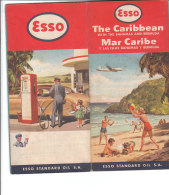 B1796 - CARTINA ROAD MAP ESSO Anni '50 - THE CARIBBEAN - BAHAMAS - ILLUSTRATA POMPA BENZINA - Carte Stradali