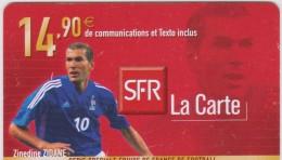 Télécarte :   Mobicarte  SFR  Football  Zinedine  Zidane - Frankreich