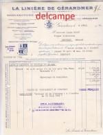 Facture Ancienne - LA LINIERE DE GERARDMER  (Vosges)  Ets SALMON Fils Et J.B. PERRIN - Manufacture De Toiles - Textile & Vestimentaire