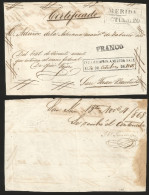 G)1868 MEXICO, MERIDA BOXED DATE CANC. SCHZ 785, FRANCO HANDSTAMP 785A6 CERTIFICATION BOXED DATE STAMP 788A, POST-COLONI - Mexico