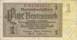 GERMANY 1 RENTENMARK 1937 P-173b F/VF S/N F*84565645  [ DER173b ] - [ 3] 1918-1933: Weimarrepubliek