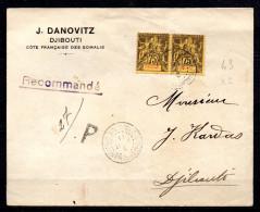 TGC/ Obock : Devant De Lettre Recommandé Avec Une Paire Du N° 43  Oblitéré Du 3 Aout 1911 - Obock (1892-1899)